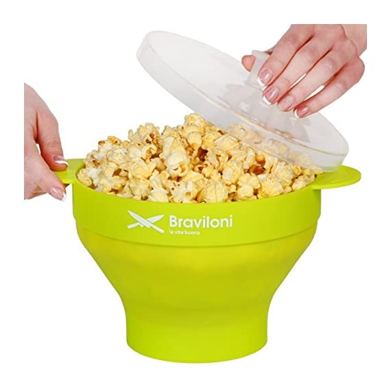 Popcorn Maker 1 ♨ DELICIOUSNESS IN MINUTES: The Braviloni microwave popcorn popper with lid whips up to 14 cups of popcorn in under 4 minutes; all without having to deal with the slowness of a stove top popcorn maker, the noisiness of electric hot air poppers, or the potentially harmful lining of microwavable popcorn bags. ♨ EASY TO USE: Simply add kernels to the quick pop maker, add seasoning, and place in the microwave. This is one of the most convenient popcorn poppers for home use thanks to the cool-touch handles for comfortable handling and graduated markings on the inner side of the bowl. ♨ COMPLETELY TOXIN FREE: Made using 100% FDA-approved food-grade silicone that is completely BPA-free, this is the best popcorn popper for making a healthy treat that the entire family will love. You can opt to use oil or skip on it entirely, making it perfect for those looking for popcorn poppers that use oil or poppers that can do without.