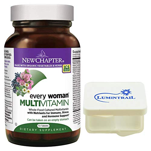 New Chapter Every Woman Multivitamin, Women's Multi with Vitamin D3, Iron, Probiotics - 72 Tablets Bundle with a Lumintrail Pill Case ()