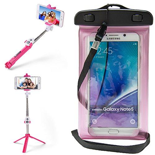 SumacLife Black Waterproof Cell Phone Dry Bag Pouch & Selfie Stick for BLU Studio J8M LTE/Dash L5, L4, L3 LTE/C5/Grand M2 by SumacLife