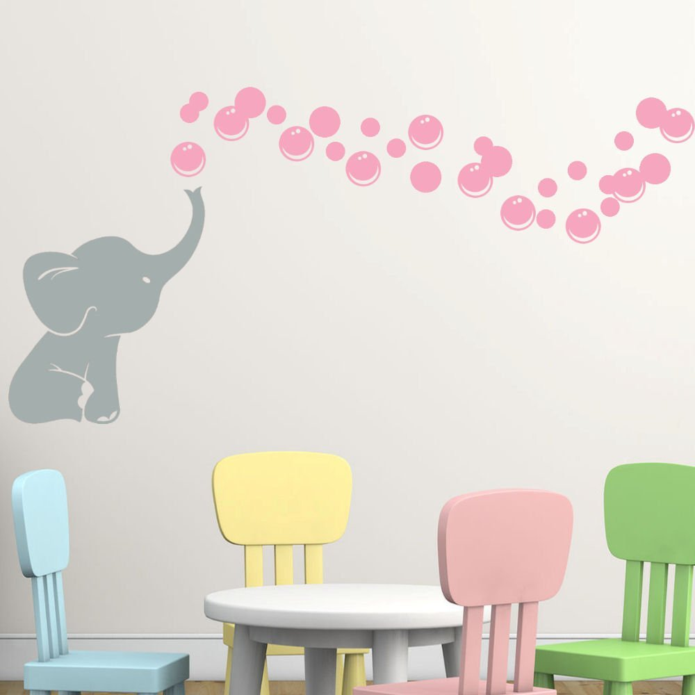 B071JVWVLN Elephant Bubbles Vinyl Wall Decal Custom, Choose Elephant and Bubble Color Makes a great baby shower gift, nursery room decor - Grey with pink 51uBABGxyUL
