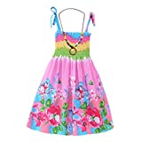 MiyaSudy Kids Girls Summer Cotton Sleeveless Straps Bohemian Beach Dresses for 3-12 Years Old