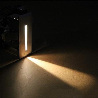 Lámpara LED para escalera, 220 V, para interiores, esquina, decoración de escalones, pasillo, escalera, lámpara con chip CREE, 2 unidades por paquete, negro, Warm White: Amazon.es: Iluminación
