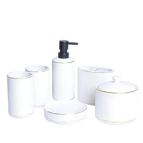 PLYY Baño de cerámica Europeo de Cinco Piezas Kit de baño Taza de Cepillo de Dientes