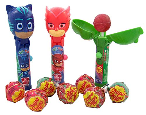 PJ Masks Pop Ups Lollipops with 3 Assorted Flavor Chupa Chups, Pack of 6