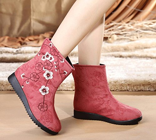 Vintage Women's Flat Boots 4U Shoes Fabric Embroidery Martin Flower Cotton green Best Heel Winter Style Fall Rose Boots FZwUqqS