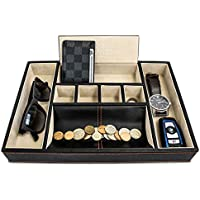 Best Mens Valet Tray Organizer For Dresser Top - Deluxe Leather Storage Box Great Watch Box Or Jewelry Box For...