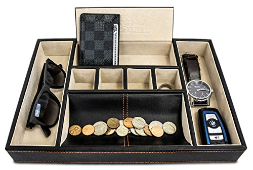 Dapper Effects Valet Tray Organizer For Desk, Dresser Top Or Nightstand - Deluxe Leather Storage, Jewelry, Watch, Key, and Wallet Box - Great Catchall Coin Holder - 7 Compartments - For Men or Women (Mens Leather Valet)