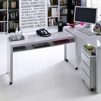 Eckschreibtisch weiß hochglanz  lounge-zone MEMPHIS Schreibtisch klein, weiß Hochglanz ...