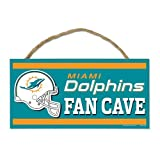 Wincraft NFL Miami Dolphins WCR83052013 Wood Sign with Rope, 5-Inch by 10-Inch