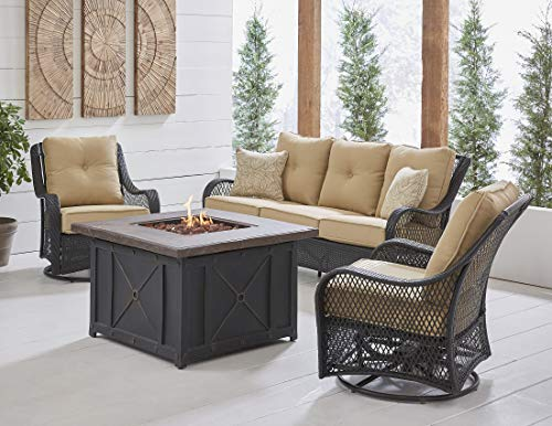 (Hanover ORL4PCDFPSW2-TAN Orleans 4-Piece Woven Fire Pit Lounge Set in Sahara Sand Outdoor Furniture, Tan)