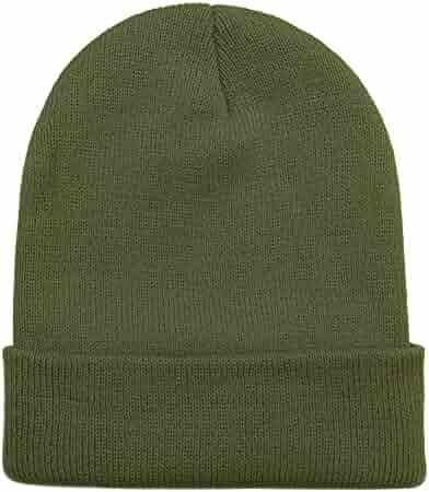 6bc949addc23d Opromo Unisex Plain Long Cuffed Beanie Fold Knit Hat Ski Skull Cap