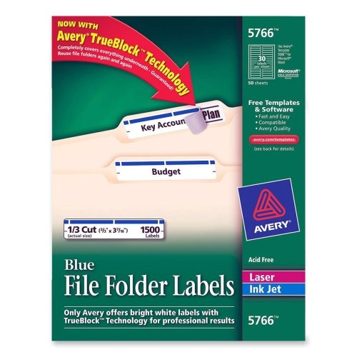 Permanent Filing Labels, 1/3 Cut, 1500/BX,Blue ()