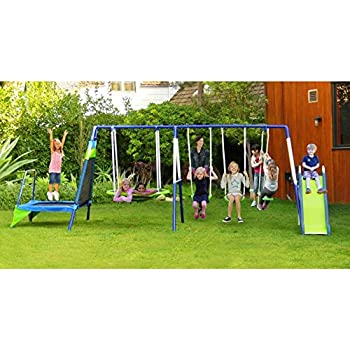 Amazon.com: Metal Swing Set With Slide and Trampoline ...