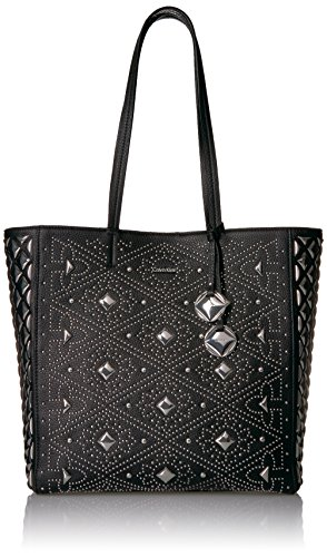 (Calvin Klein Avery Pebble All-Over Pyramid Stud Embellished N/S Tote Tote Bag, BLK PYRAMID, One Size)