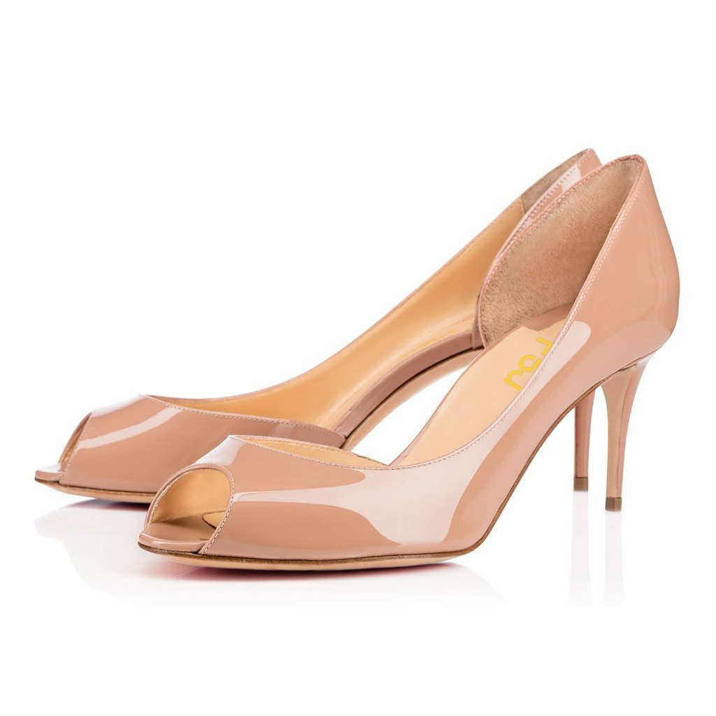 Nude FSJ Fashion Pumps for Women Peep Toe Middle Heel Slip on D'Orsay shoes Size 4-15 US