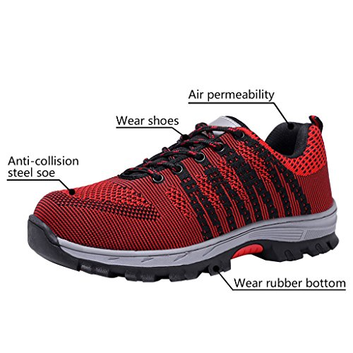 Black Shoes Men's Shoes Red Steel Optimal Shoes Toe Safety Work avZppOq