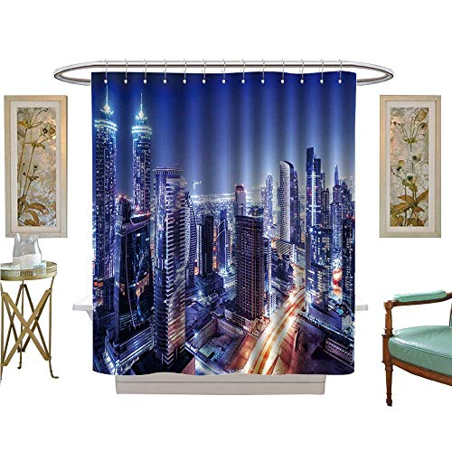 Price comparison product image Shower Curtain Collection by Dubai Downtown Night Scene UAE Builds Bright Glow Lights Luxurious Bathroom Accessories W54 x L78