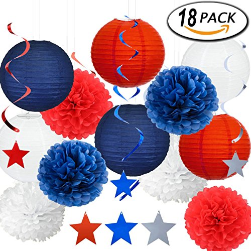 (Patriotic Decorations Dangling Swirl Pom Poms Tissue Paper Lantern Red White Blue Decoration Kit with Crystal Thread Roll)