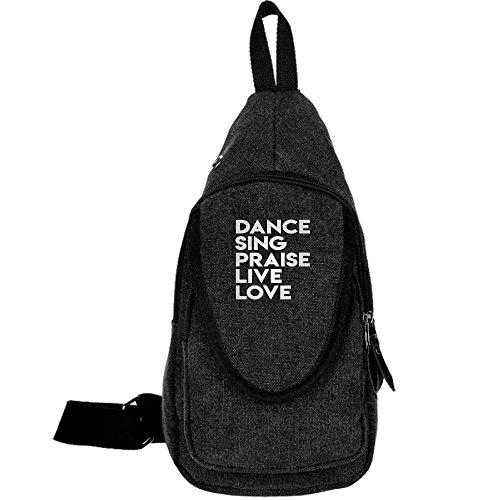 DANCE SING PRAISE LIVE LOVE Fashion Men's Bosom Bag Cross Body New Style Men Canvas Chest Bags Black by BeiYou (Image #1)'