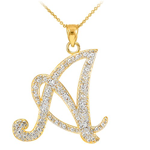 14k Yellow Gold Diamond Script Initial Letter A Pendant Necklace, ()