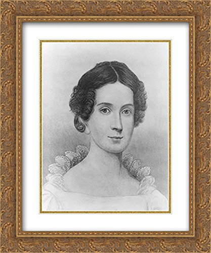 Mrs. John Tyler, head-and-shoulders portrait, facing front 20x24 Double Matted Gold Ornate Framed Art - Tyler Galleria Of
