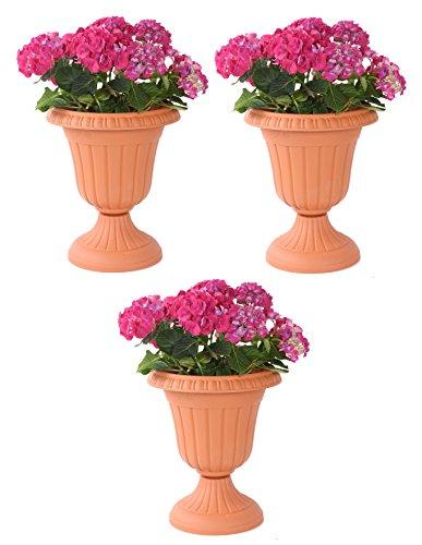 3er Set Blumenspindel Terracotta-Optik Pflanzkübel Spindel Blumentopf Rund Kunststoff D33xH39