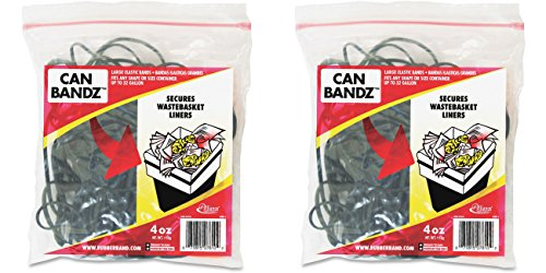 Alliance Can Bandz - Large Elastic Bands for Keeping Wastebasket Liners Secure - 7 x 1/8 Inches Black Bands - 50 per Resealable Bag (7810), 2 Packs