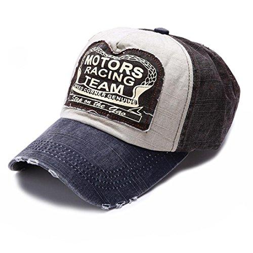 Creazy New Unisex Baseball Cap Cotton Motorcycle Cap Edge Grinding Do Old Hat (Navy)