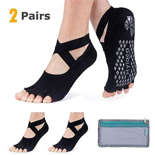 (Hylaea Yoga Socks for Women with Grip & Non Slip Toeless Half Toe Socks for Ballet Pilates Barre Dance)
