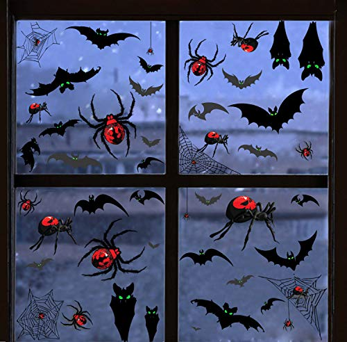 138 Piece Halloween Party Decorations Black Luminous Bats Spiders Window Clings Decals Stickers for Halloween Party Supplies Favor