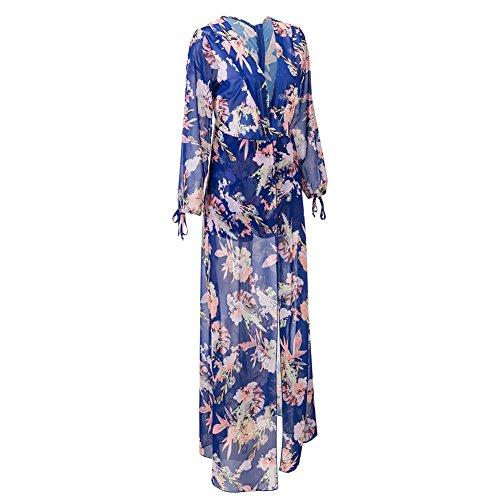 Bodycon4u Fente Côté Féminin Floral Robe Barboteuse Maxi En Mousseline De Soie Imprimé Plage Bleu