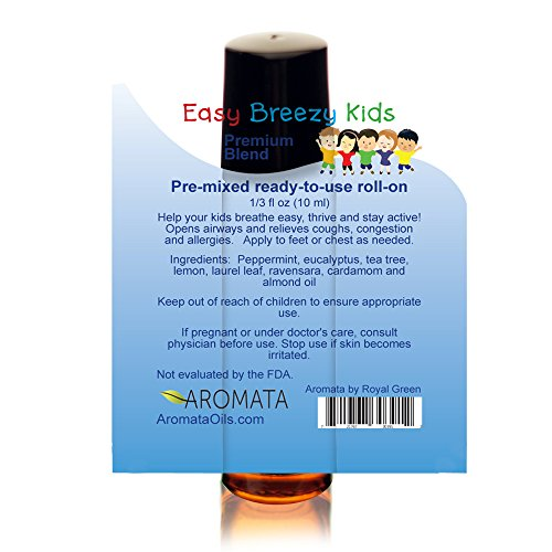Easy Breezy Kids – Premixed, kid-ready, essential oil blend, makes breathing easy. 100% natural & safe for kids. Parent tested, kid approved, 10 ml (1/3 fl oz) roll-on by AROMATA (Image #1)'