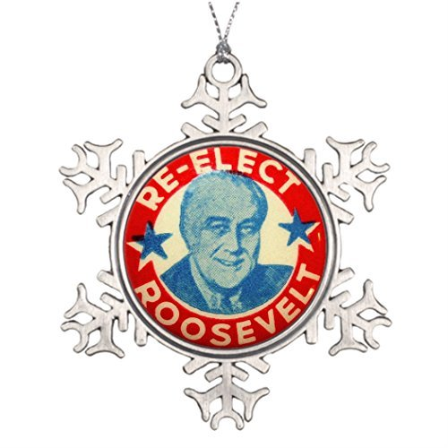 - Metal Ornaments Xmas Trees Decorated Vintage Franklin Roosevelt Christmas Snowflake Ornament Balls