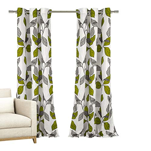 Home Maison Set of Two (2) Window Curtains: Grommeted Panels with White with Green Grey Taupe Modern Leaf Design, 110