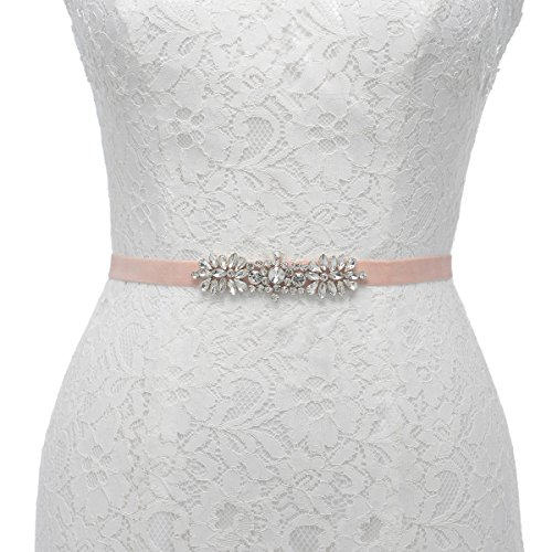 Remedios Elastic Velvet Wedding Sash Evening Party Dress Rhinestone Sash Stretch Belt for Bride Bridesmaid Women,Pink,S