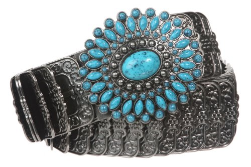 "1 3/4"" Turquois Stone Flower Elastic Sequent Metal Stretch Belt Size: M/L Color: Antique Silver"