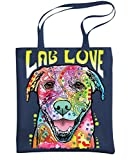 - LAB LUV - labrador dog love - Dean Russo - Heavy Duty Tote Bag, Navy