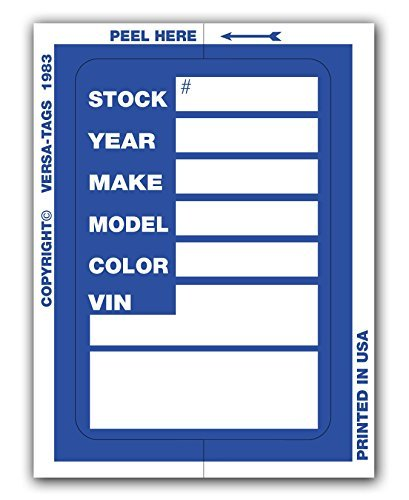 Versa Tags Kleer-bak Stock Stickers (Blue) from Versa-Tags