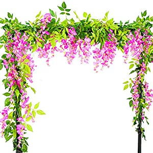 Artificial Flowers 3 Pcs 6.6ft Wisteria Garland Ivy Vine Silk Hanging Plants for Wedding Arrangements Outdoors Decorations Home Garden Party Decor Simulation Flower (Rose-red) 18