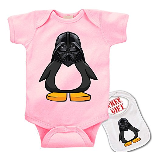 Darth Vader In Suit (Penguin Darth Vader ,Star Wars. Cute Novelty Baby bodysuit onesie & matching bib)