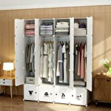 MAGINELS Wardrobe Clothes Closet Bedroom Armoire Dresser Cube Storage Organizer Portable,30% Deeper Cube White Sticker 8 Cube & 4 Hanging Sections