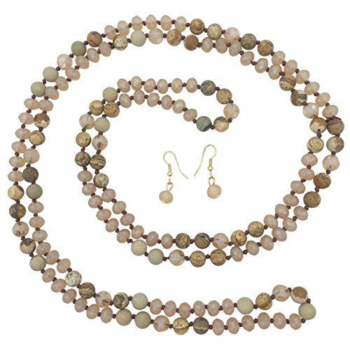 Long Multi Color Natural Stone & Glass Beaded Necklace & Earrings Set (Brown - Necklace Bead Long Agate Glass