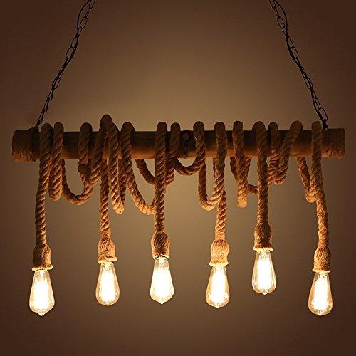 NIUYAO Industrial Vintage Pendant Chandelier Lighting Natural Hemp Rope Bamboo Edison LED Antique Retro Loft Island Pendant Lamp Hanging Light Ceiling Fixture with 6 lights