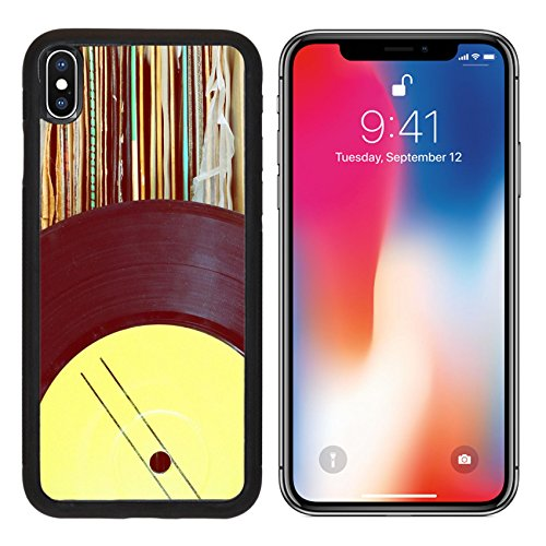 MSD Premium Apple iPhone X Aluminum Backplate Bumper Snap Case close up of old record and records stack IMAGE 26950211 - Equipment Depot Pa