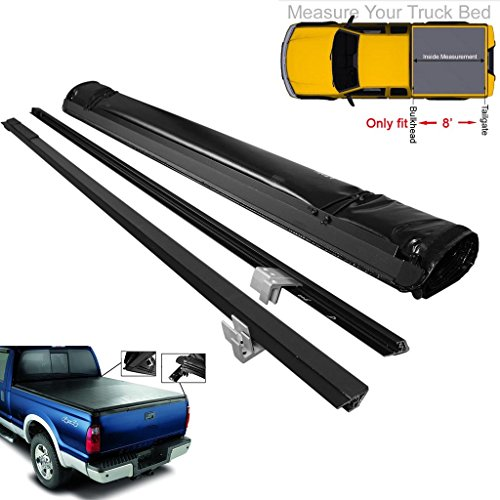 RAFTUDRIVE Soft Roll-Up Tonneau Cover Fit 1999-2017 Ford F250/F350/F450 Super Duty 8 Ft Long bed (excludes Flareside)