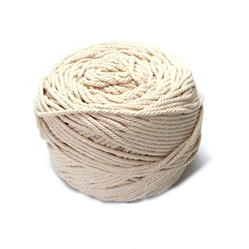 (Youshe 4mm Diameter Natural Cotton Rope Braided Twisted Cotton Cord Cotton Line Decorative Craft Thread Cord for Home DIY Wall Decoration (4mm x 100m))