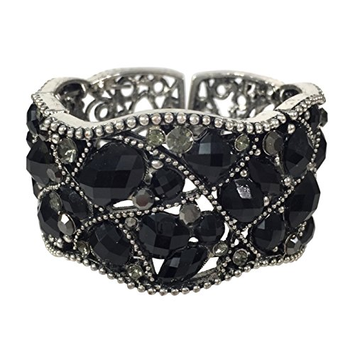 Stunning Statement Resin Stone and Rhinestone Open Filigree Cuff Bangle Bracelet (Black Wave)