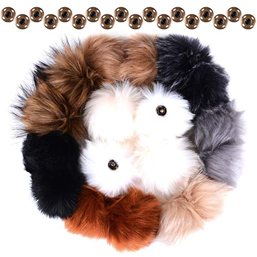 18 Pieces Faux Fur Pom Pom Ball with Press Button Removable Pom Balls for Knitting Hats Gloves Shoes Keychain DIY Craft Accessories (9 Colors)