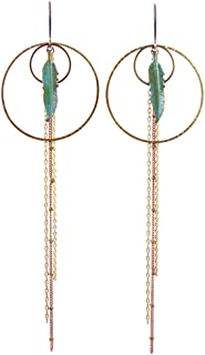 """product image for Verdigris Feather Brass Hoop Boho Earrings with 6"""" Brass Chain Dangles, American Handmade"""