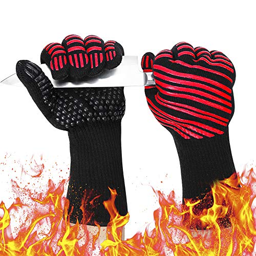932℉ Extreme Heat Resistant BBQ Gloves, Food Grade Kitchen Oven Mitts - Flexible Oven Gloves, Silicone Non-Slip Cooking Hot Glove for Grilling, Baking (Red, Palm Width 4.9 in) (Hand 500 Gripper)